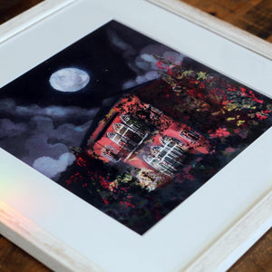 Quartz Pink Traditional Lebanese House with Full Moon - Giclée Print