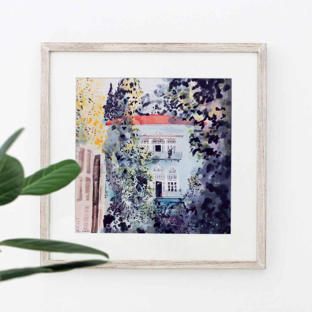 Turquoise Traditional Lebanese House - Giclée Print