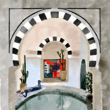 Load image into Gallery viewer, Lounging by the Pool, Tunisia - Giclée Print