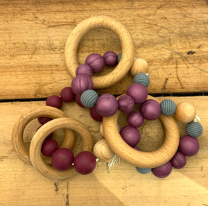 Piccolo Pesca Silicone/Wood teething ring