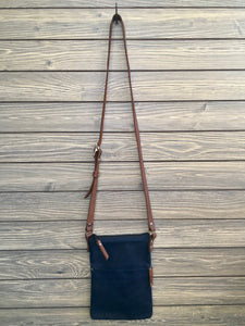 Small Cross Body waxed canvas with leather adjustable strap Assorted Colors