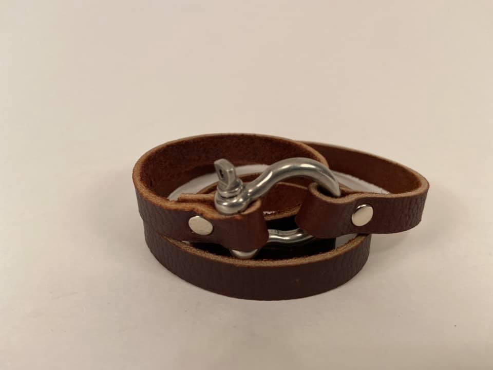 Leather Wrap Bracelet with Metal Clasp Assorted Sizes