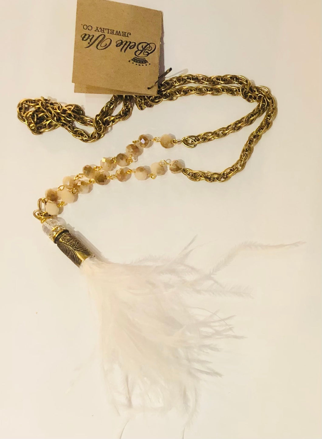 White Ostrich Feather Necklace 21""