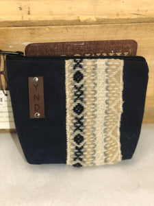 "Small Sundries Bag waxed canvas and wool accents 7""x5"""