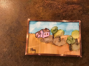 Alcohol ink small tiles magnets - Fall Themes