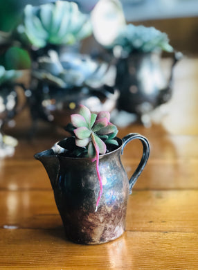 Sterling silver creamer pitcher with succulent