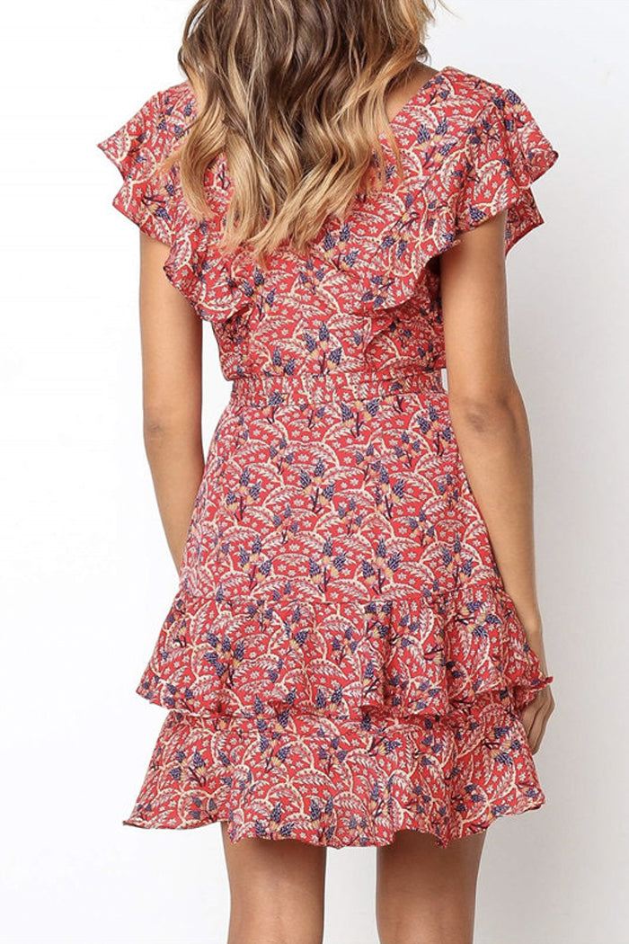 ABSTRACT LEAF PRINT RUFFLE MINI DRESS