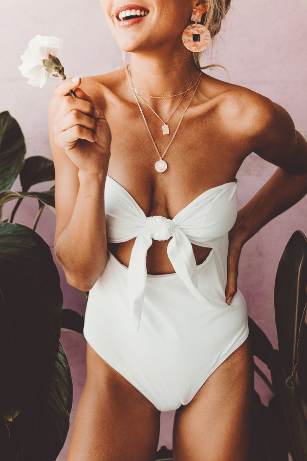 WILLOW BANDEAU FRONT-TIE ONE-PIECE