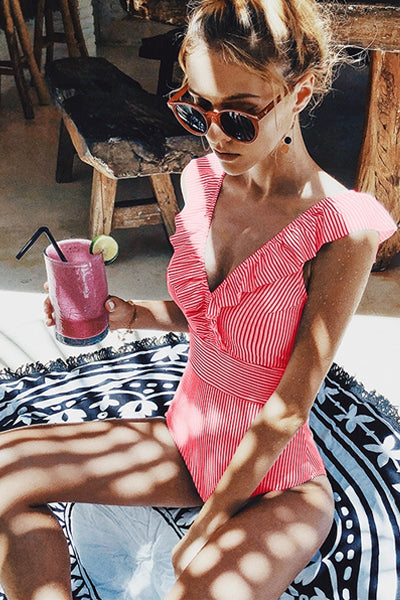 RETRO BABE STRIPED ONE-PIECE SWIMSUIT