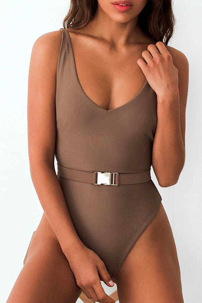KAMARI V-NECK ONE-PIECE SWIMSUIT