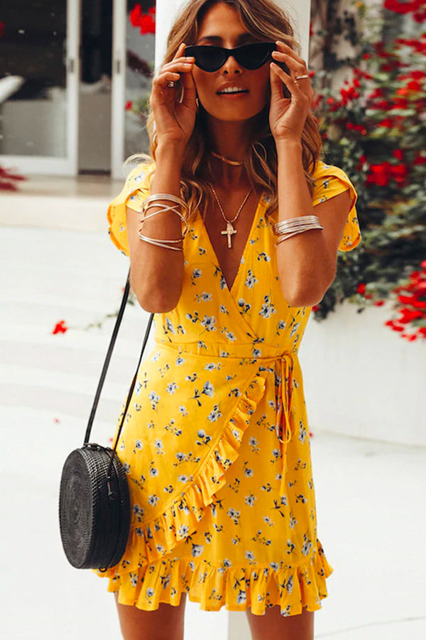 SUNSHINE FLORAL RUFFLE MINI DRESS