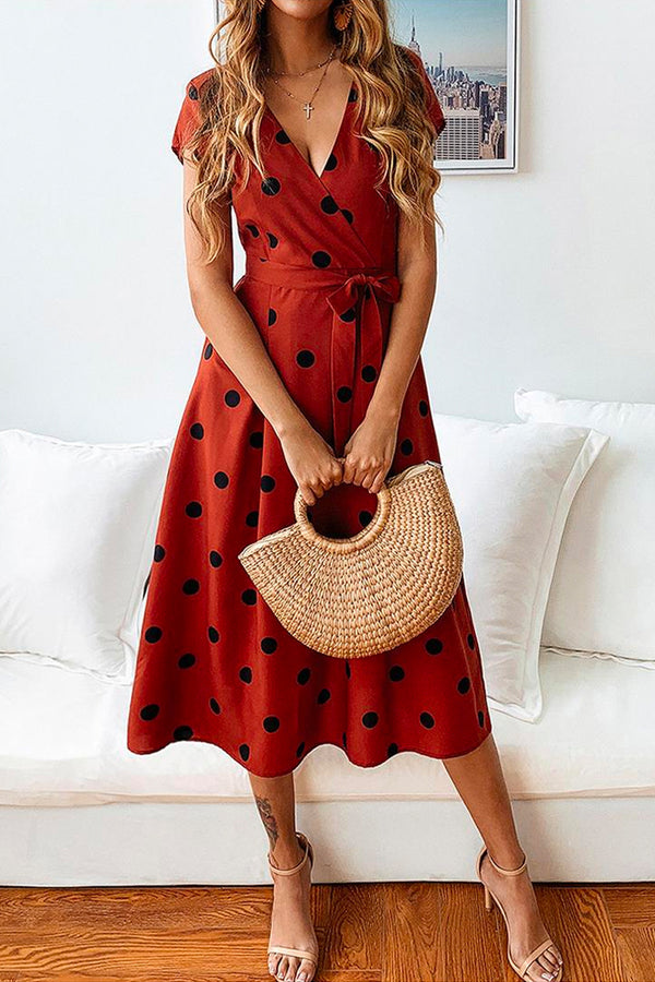 CASUAL POLKA DOT MIDI DRESS