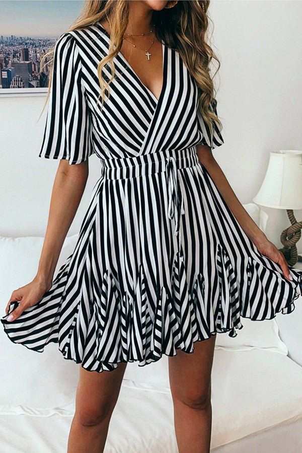 STRIPED V-NECK MINI DRESS