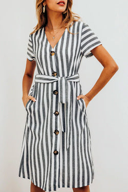 STRIPED BUTTON-UP DAY DRESS
