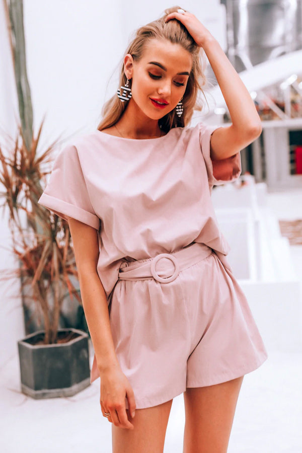 DUSTY PINK BELTED PLAYSUIT