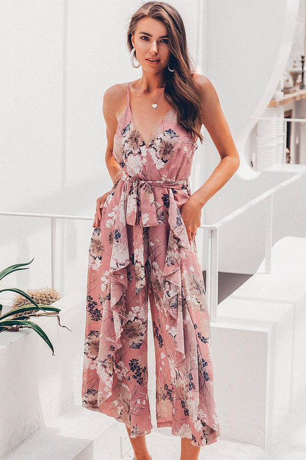 PINK FLORAL RUFFLED JUMPSUIT