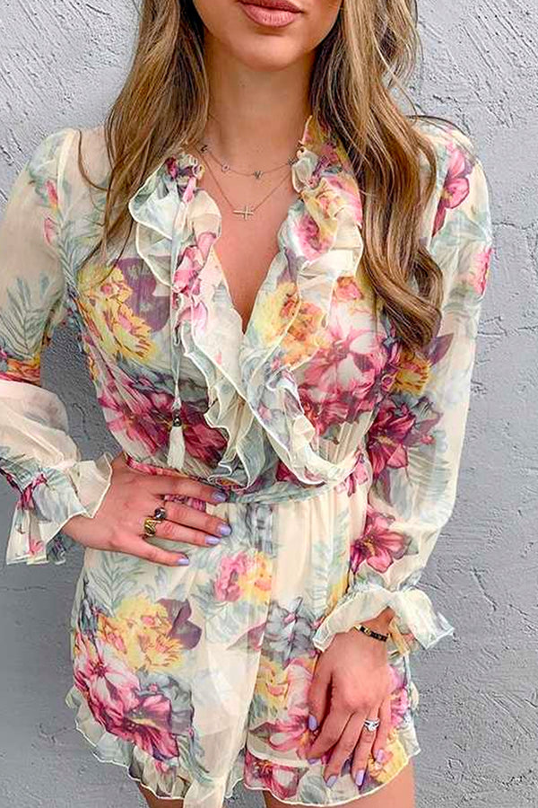 FLORAL PRINT RUFFLED LONG-SLEEVE PLAYSUIT