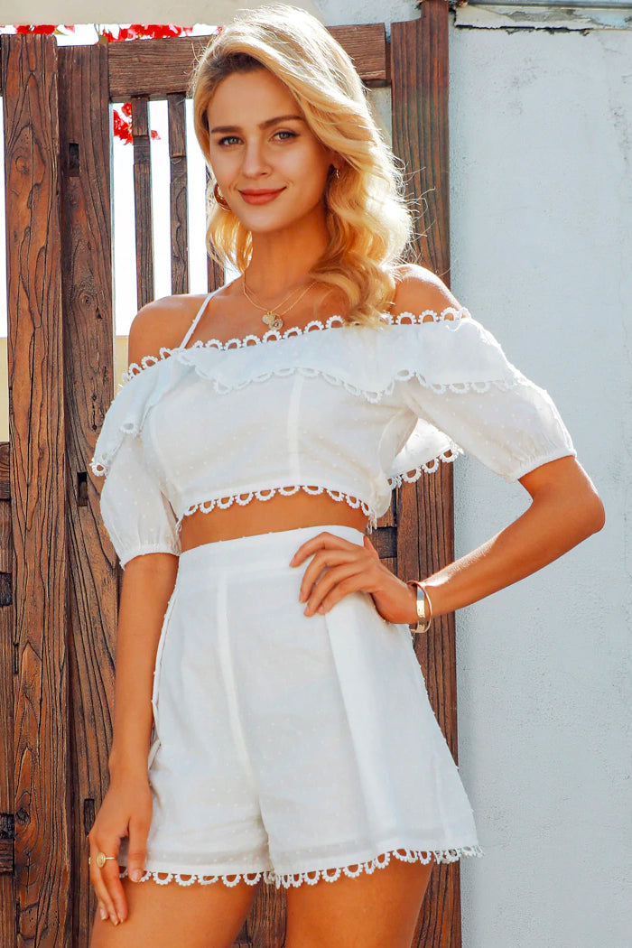 EYELET LACE HIGH-WAISTED TWO-PIECE