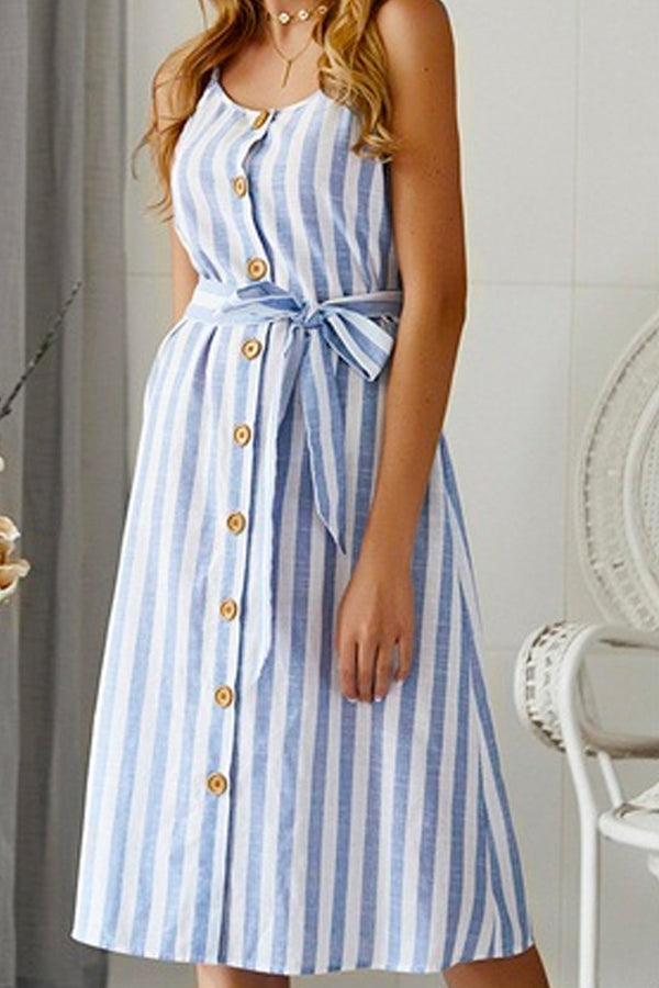 STRIPE BUTTON-UP MIDI DRESS