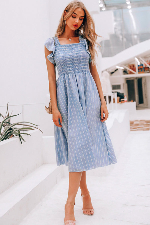 APRIL STRIPED RUFFLE LINEN MIDI DRESS