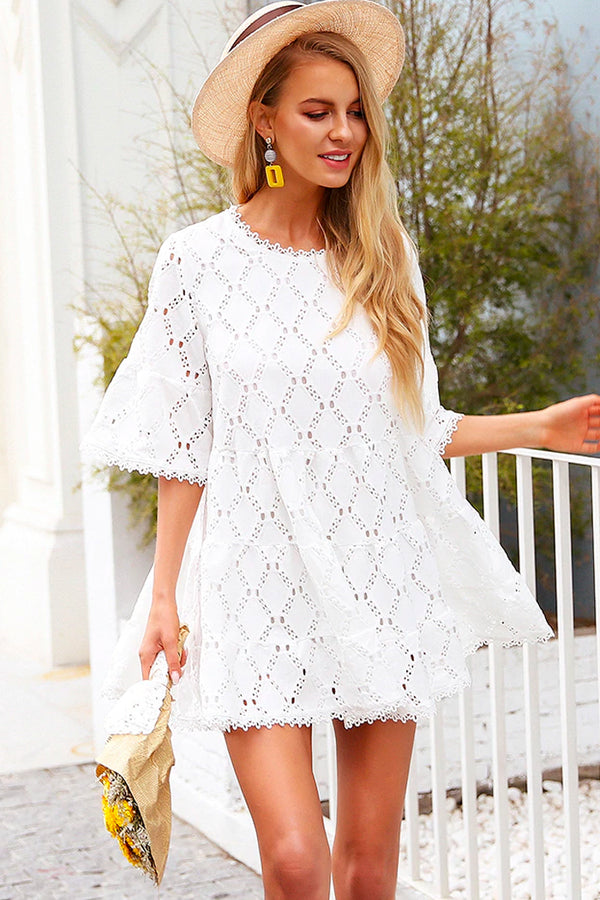ULI WHITE FLARE SLEEVE LACE MINI DRESS
