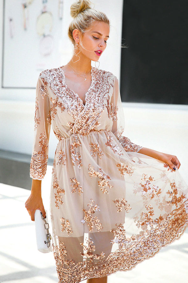 PERLE EMBELLISHED LONG-SLEEVE MIDI DRESS
