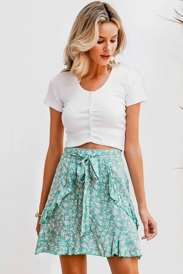 NANCEE MICRO-FLORAL WRAP MINI SKIRT