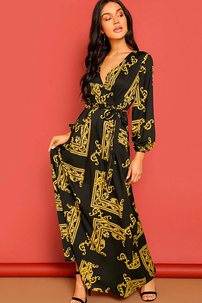 HUDA V-NECK SCARF PRINT WRAP DRESS