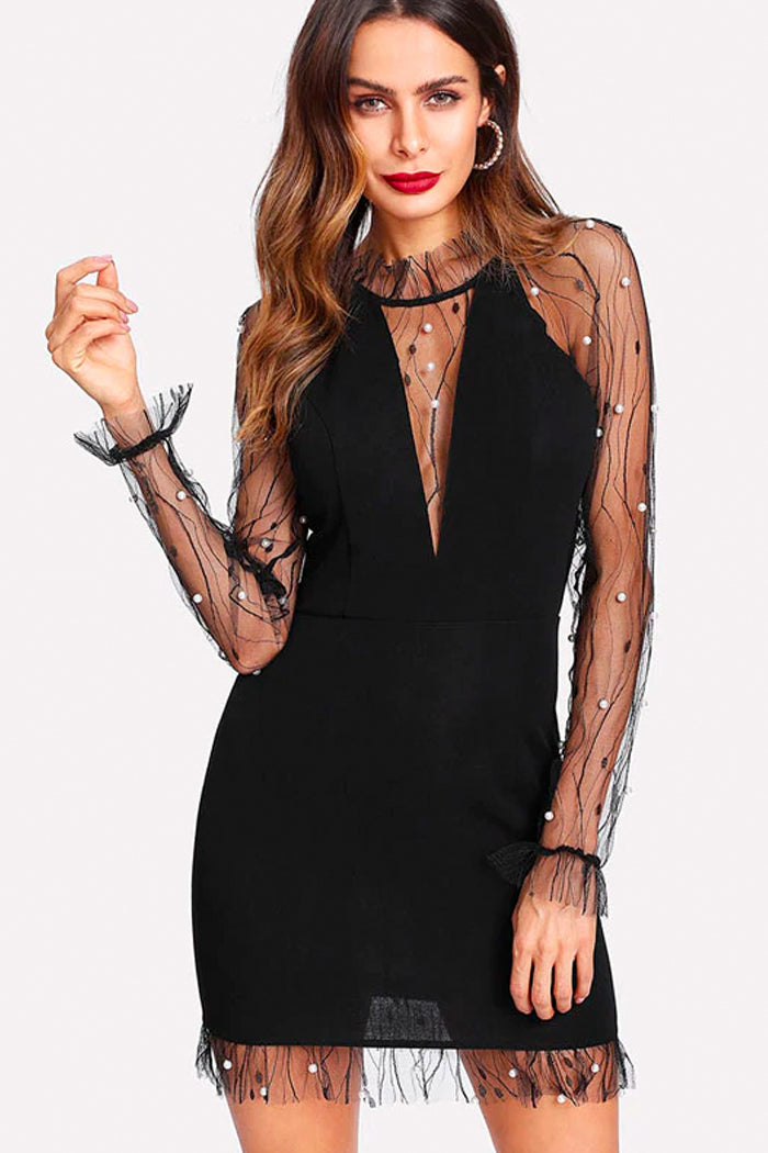 PEARL MESH PARTY DRESS