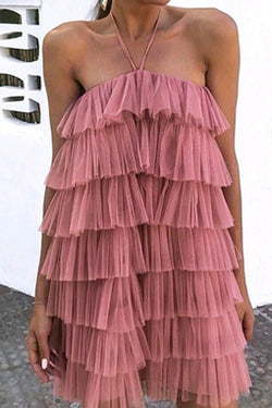 PINK SLEEVELESS STEP-RUFFLE DRESS