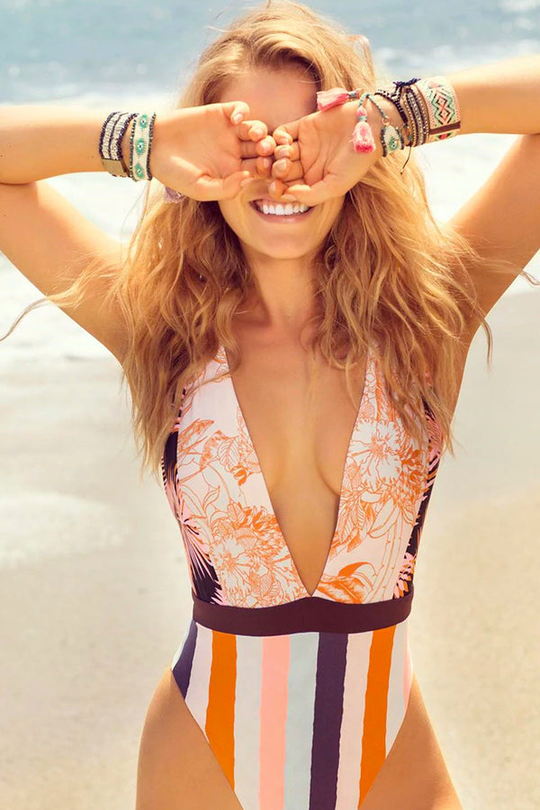 PLUNGING DEEP-V MIXED PATTERN ONE-PIECE