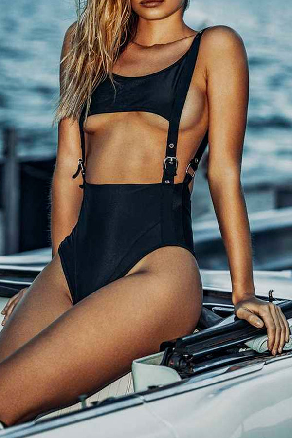 BUCKLE AND RIVET HIGH-CUT ONE-PIECE