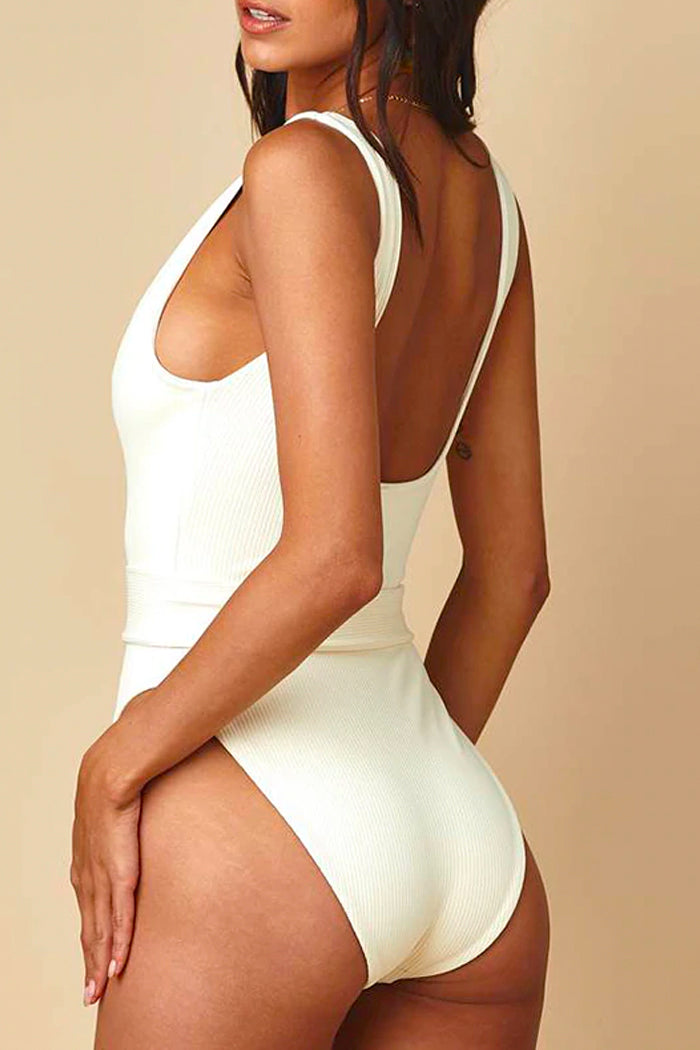 CREAM RIBBED BELTED ONE-PIECE
