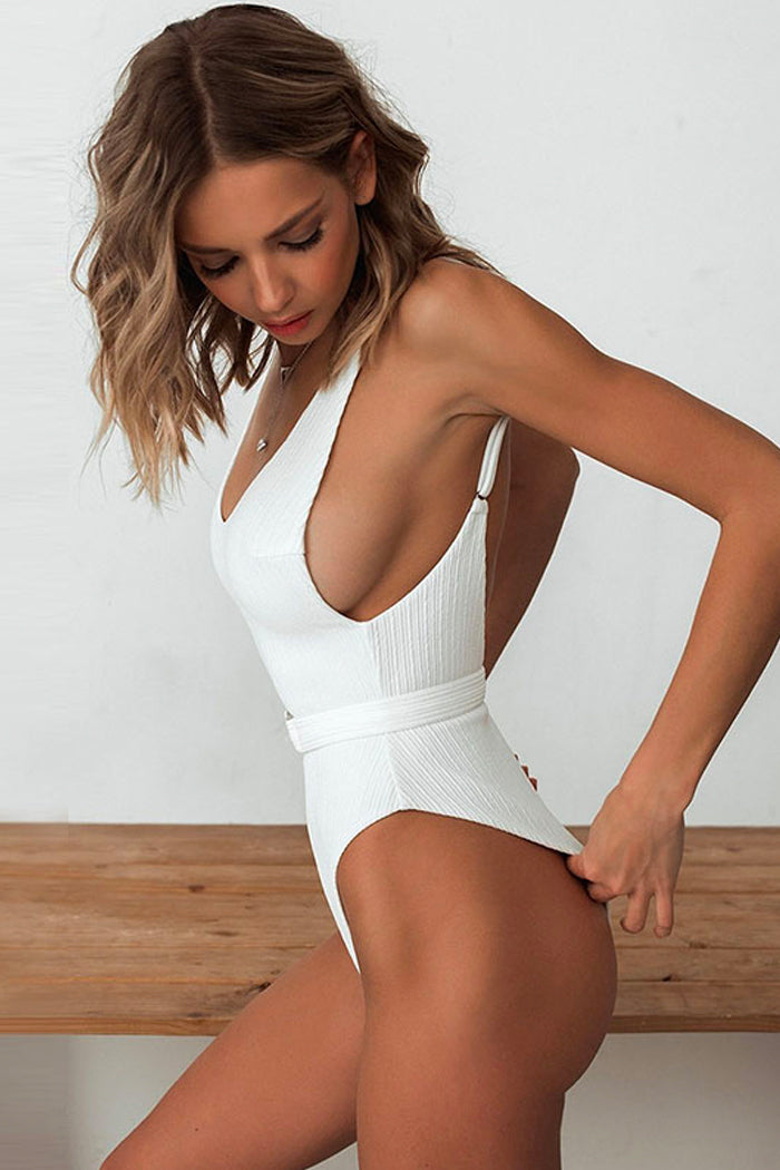 SAPHIRA SOLID COLOUR BELTED ONE-PIECE