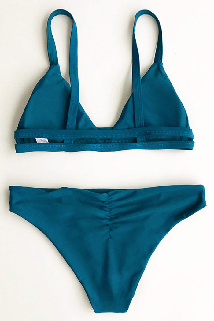 SEA-BLUE SOLID COLOUR TWO-PIECE