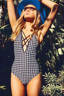 BLACK AND WHITE PLAID STRAPPY ONE-PIECE
