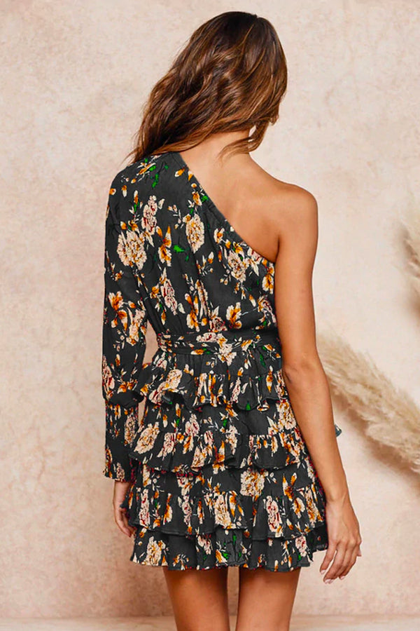 FLORAL ASYMMETRICAL SHOULDER RUFFLED MINI DRESS