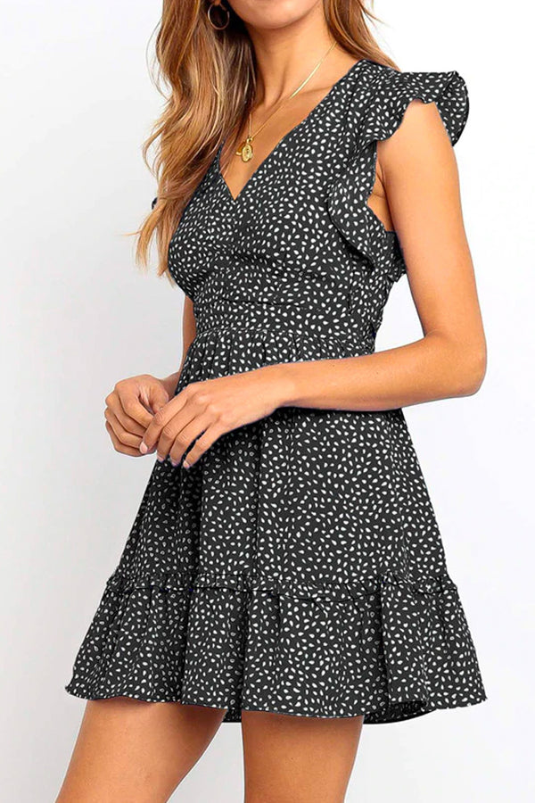 MICRO-LEAF PATTERN MINI DRESS