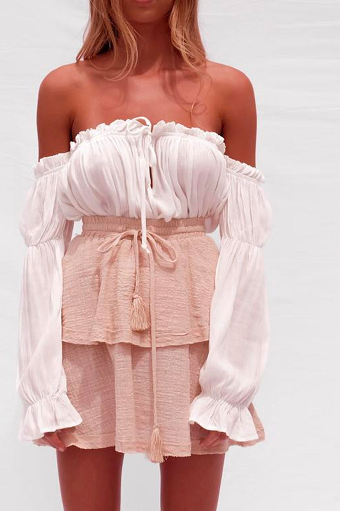 CREAM OFF-THE-SHOULDER RUFFLED BLOUSE
