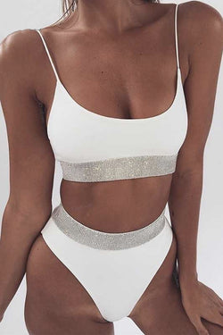 GLITTER SOLID COLOUR HIGH-WAISTED TWO-PIECE