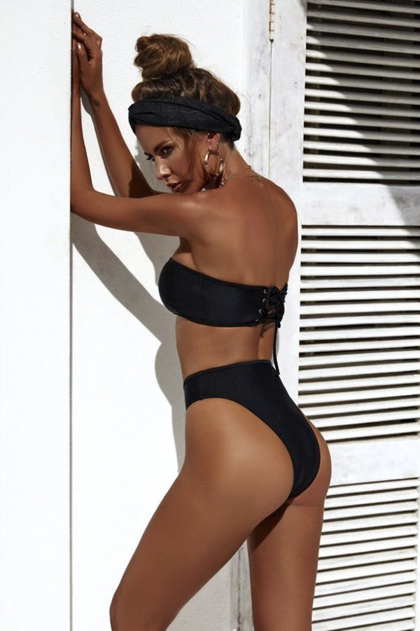 ALLY BLACK BANDEAU HIGH-CUT BIKINI