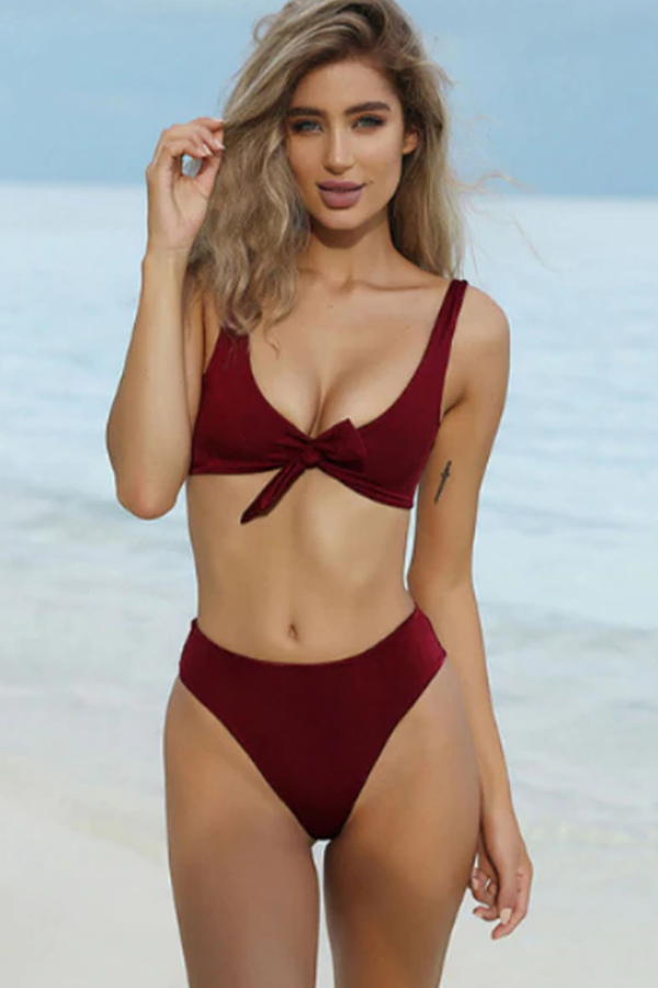 BROOKLYN WINE-RED BOW-KNOT SOLID BIKINI