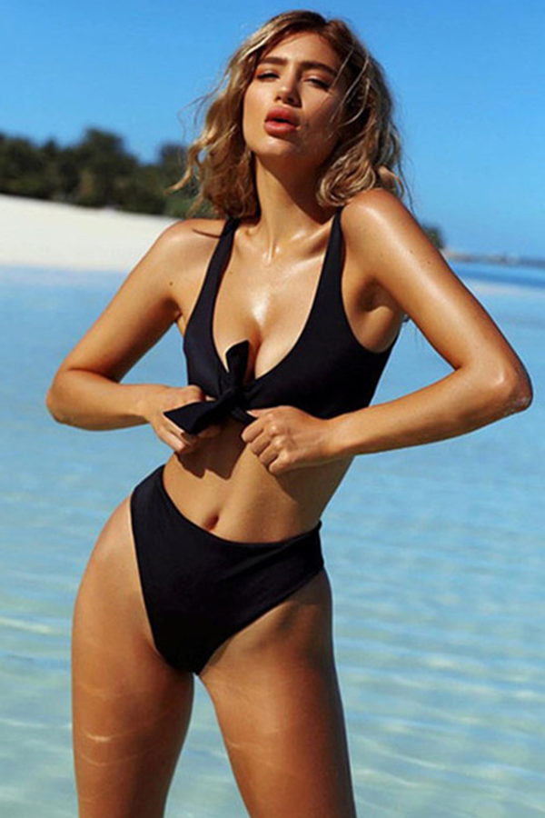 BROOKLYN BLACK BOW-KNOT SOLID BIKINI