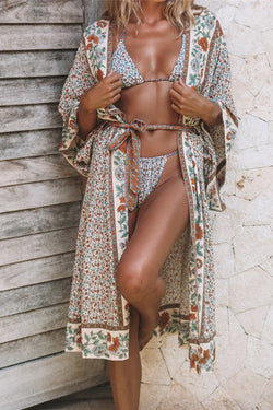 MYKONOS FLOWER-PRINTED BEACH COVER-UP
