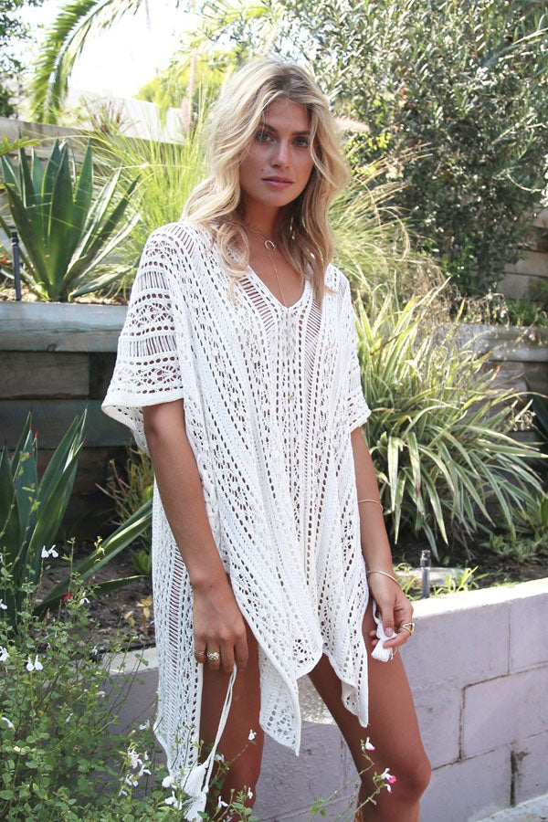 MENORCA WHITE CROCHET BEACH COVER-UP