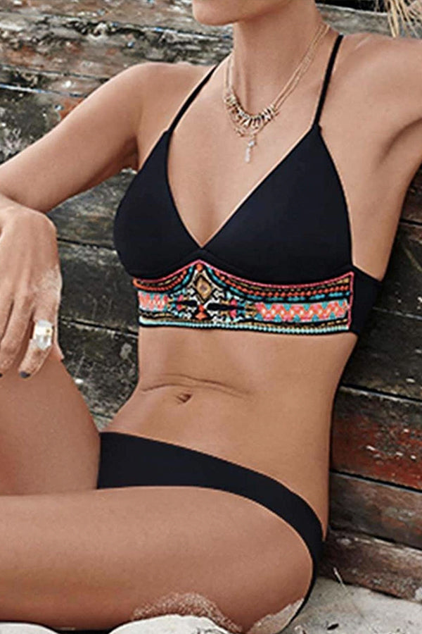 XHOI BLACK PATTERED BAND BIKINI