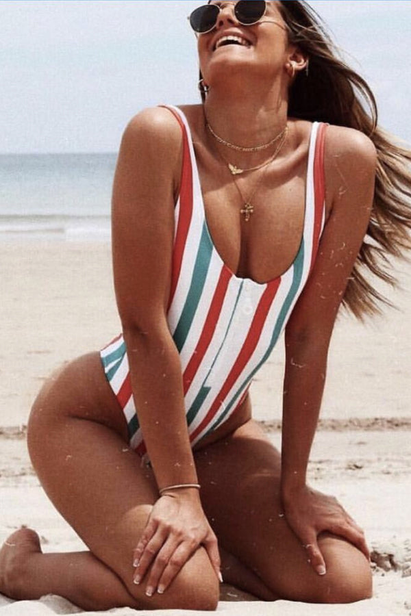 CALLIE BACKLESS STRIPED BATHING SUIT