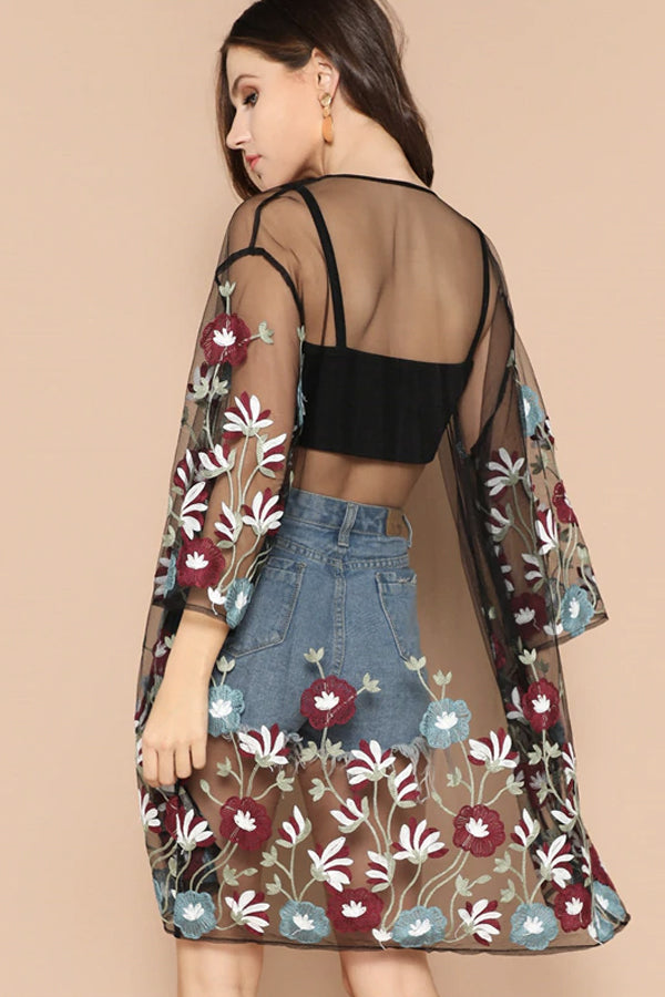 BALI FLORAL EMBROIDERED COVER-UP
