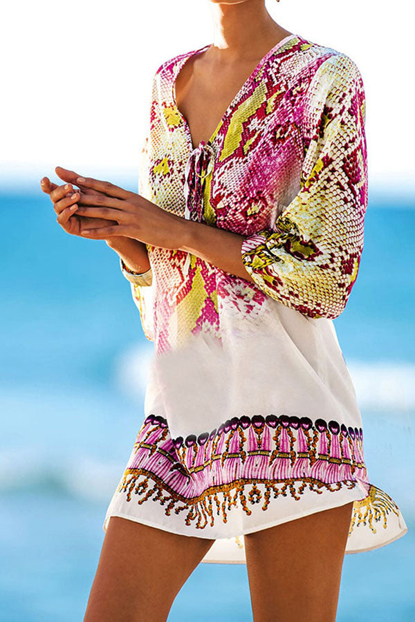 FLORIDA MAGENTA MIXED PRINT COVER-UP