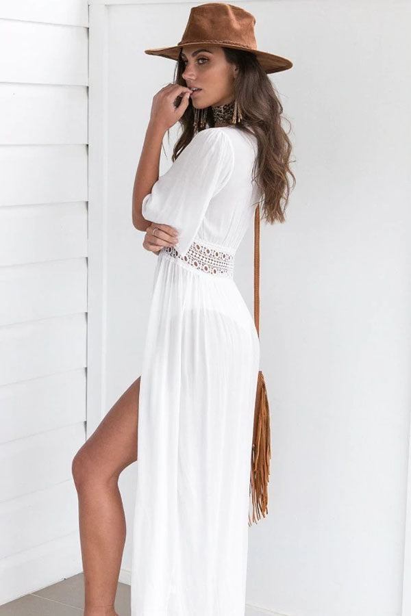 SANTO DOMINGO WHITE ANKLE-LENGTH COVER-UP